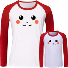 Cute Pikachu Pokemon Pokeball Design Matching Family Outfits T-shirt Mom Daughter Long Sleeve Tee Women Girl Printed Tops Gift(China)