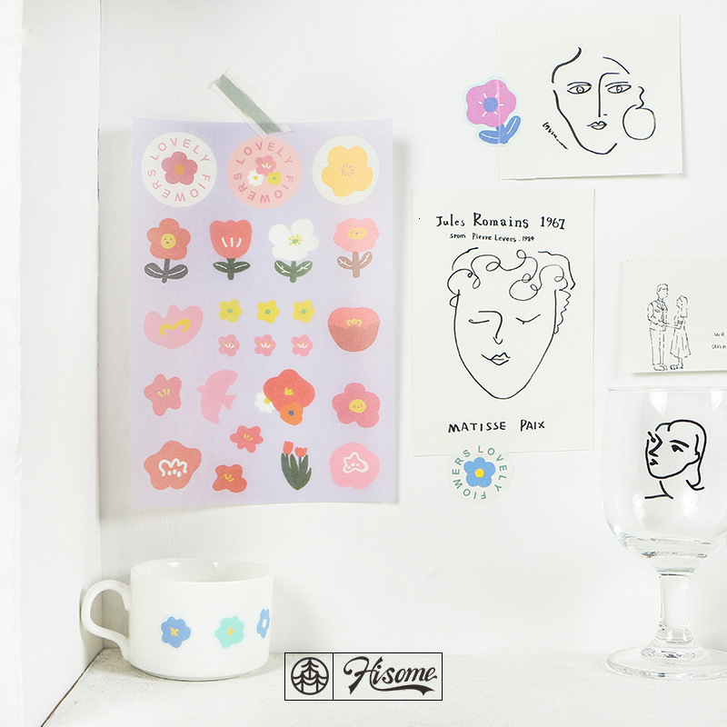 SIXONE Cartoon Cute Floret Fruits Decoration Stickers Kawaii Korea Girl Notebook Desk Hand Account Label Sticker Sealing Sticker