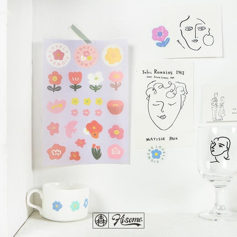 SIXONE Cartoon Cute Floret Fruits Decoration Stickers Kawaii Korea Girl Notebook Desk Hand Account Label Sticker Sealing Sticker