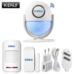 KERUI sistema de alarma de seguridad para el hogar WIFI funciona con Alexa Smart App 120dB PIR Sensor de puerta/ventana de Panel principal alarma antirrobo inalámbrica