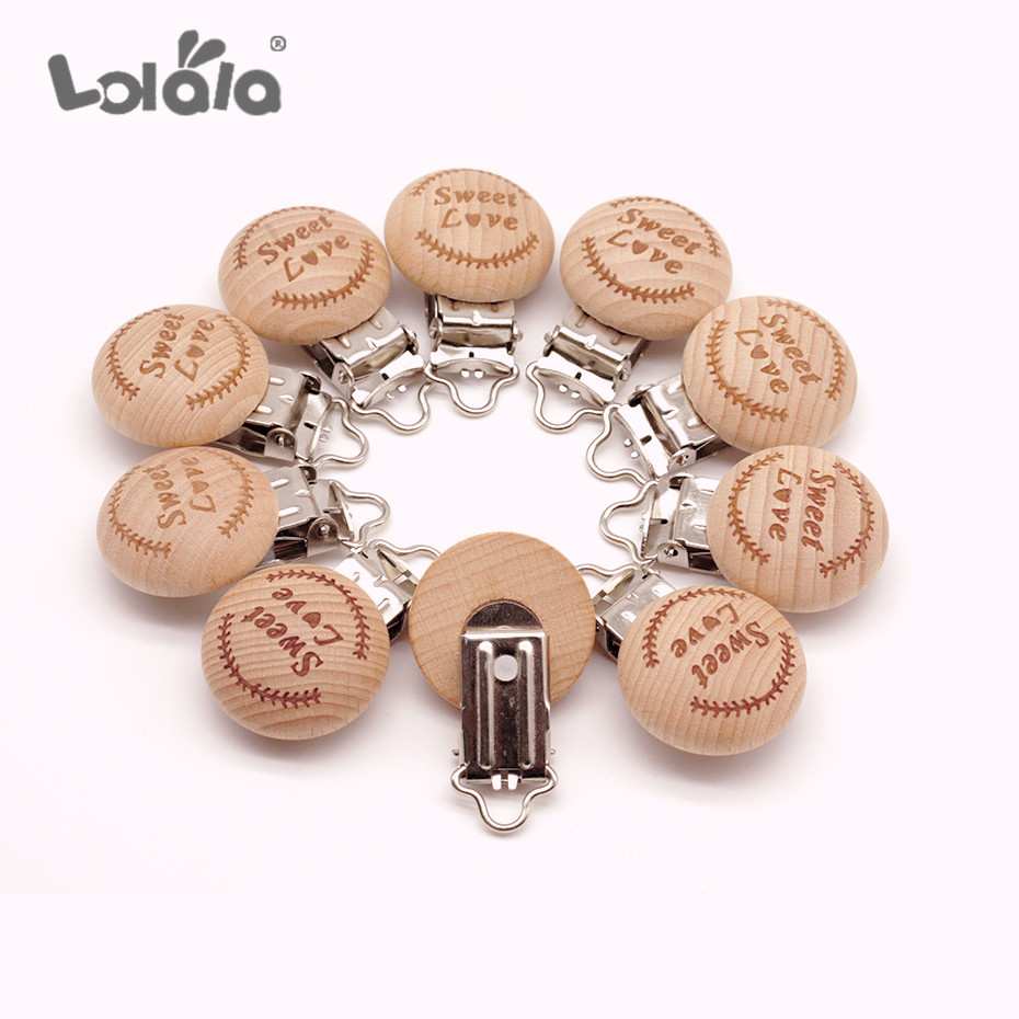 5pcs/lot Metal Wooden Baby Children Pacifier Holder Clip Infant Soother Clasps Holders Nursing Accessories Diy Tool