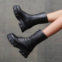 Женские ботильоны; кожаные ботинки на высокой платформе; мотоциклетные
