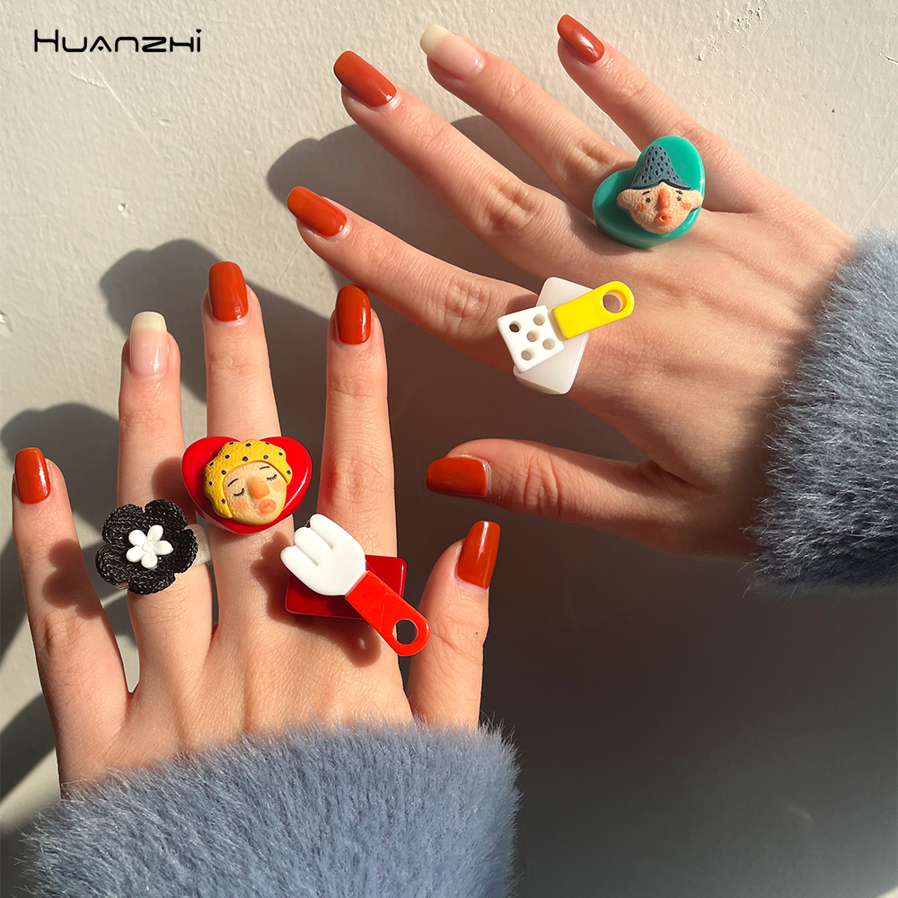 Transparent Resin Acrylic Geometric Square Ring Colorful Cartoon Love Flower for Women Girls Jewelry Gifts HUANZHI 2021