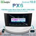 PX6 Автомагнитола 1 DIN Android 10 магнитола автомобильное радио для Benz E-class W211 E200 E220 E300 E350 E240 E270 W219 Автомобильная стерео автомобильная аудио навигац...