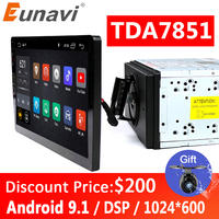 Eunavi 2 din 10.1 inch DSP TDA7851 Universal Android 9.1 Car Multimedia Radio player 2din GPS touch screen Bluetooth wifi NO DVD