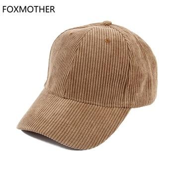 FOXMOTHE New Autumn Winter Adjustable Black Beige Plain Color Corduroy Baseball Caps Dad Hats Women Mens - discount item  5% OFF Hats & Caps
