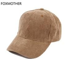 FOXMOTHE New Autumn Winter Adjustable Black Beige Plain Color Corduroy Baseball Caps Dad Hats Women Mens