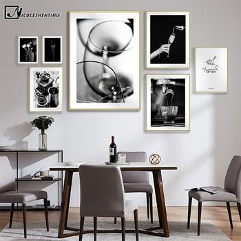 Café vino pan cocina cartel blanco y negro comida y bebida de la lona pintura arte de pared imagen comedor decoración de restaurante