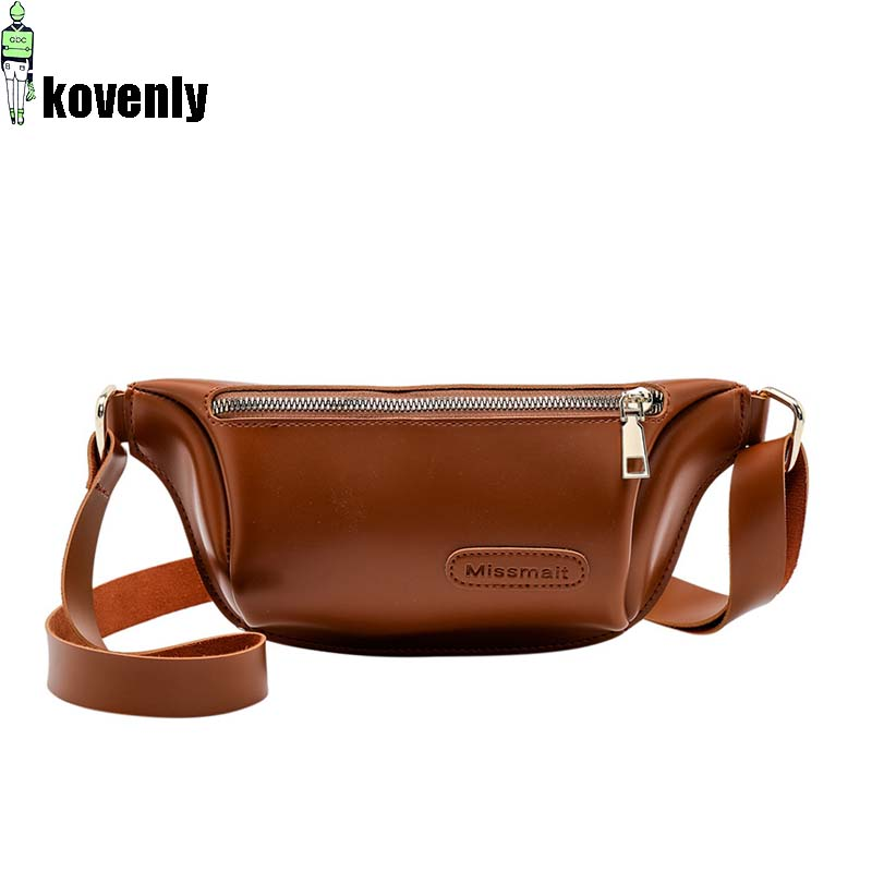 Women Leather Belt Bag Luxury Waist Bags High Quality Female Fanny Pack Casual Chest Crossbody Pack Unisex Waist Bag A454