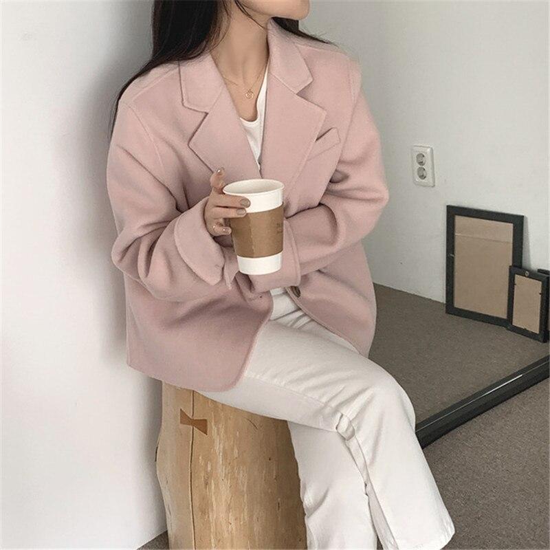 Hb5a934eb8f234a87bdcb989059bac91b1 - Winter Korean Revers Collar Solid Woolen Short Coat