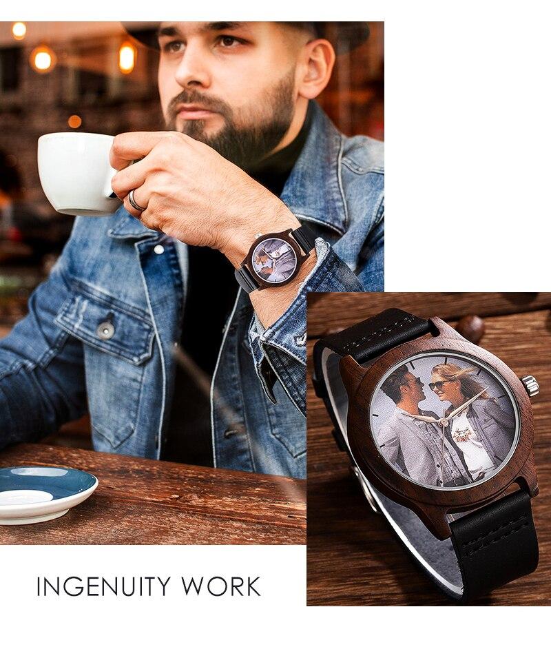 Accept Photo Personalized Customized Printing Your Photo Men Watch Unique Bamboo Wood Quartz Wristwatch Creative Souvenir Gifts 2020 2021 BOBO BIRD (6)