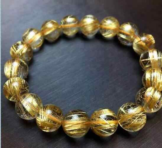 Jewelry Pearl Bracelet Natural Gold Rutilated Quartz Translucent Beads Men Bracelet 6A 10 mm>jewerly Free Shipping