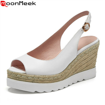 MoonMeek 2020 new arrival women sandals genuine leather shallow high heels shoes wedges platform women pumps yellow white