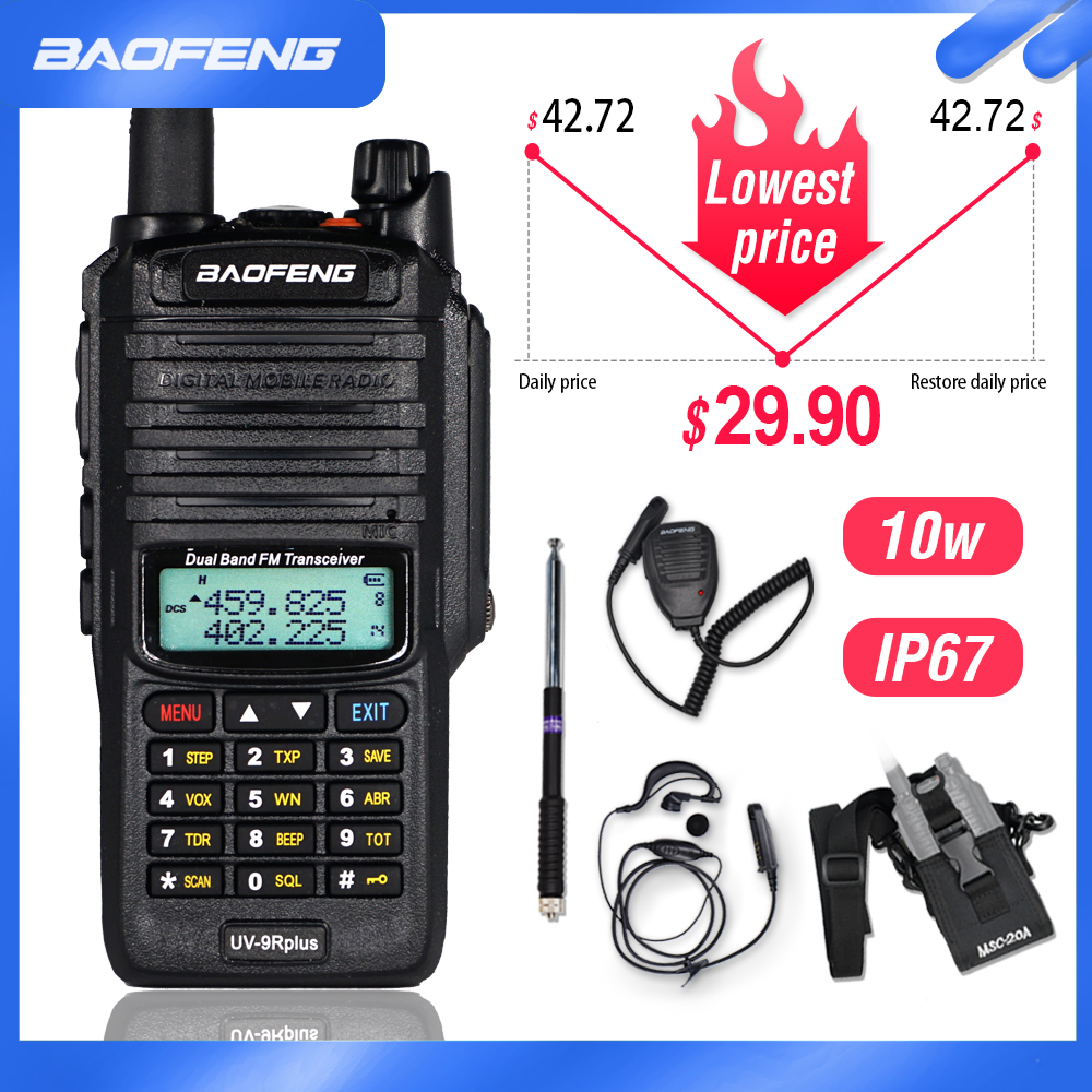 10W Waterproof Baofeng UV-9R Plus Walkie Talkie 9rhp Powerful Portable CB Ham Radio 10KM Dual Band hf transceiver UV9R Transmit