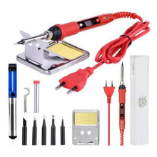 10pcs Electric Soldering iron 908S 220V 80W LCD Adjustable Temperature Solder iron Kit With quality soldering Iron Tips kits Red