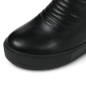 Image 3 - QUTAA/2020 г.; зимняя женская обувь, увеличивающая рост; из искусственной кожи повседневные зимние ботинки с круглым носком; ботильоны на платформе на молнии; размеры 34 40