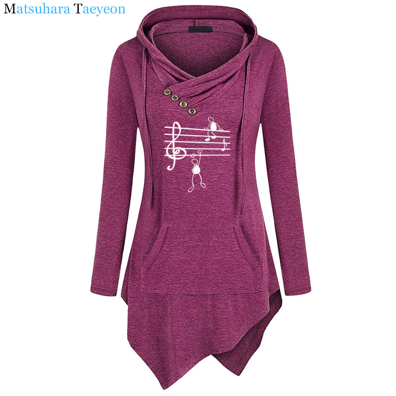 2019 New Music Notes Funny Print Hoodie Women Summer Style Cotton Long Sleeve Sweatshirt Hoodies Funny Irregular Clothing 2