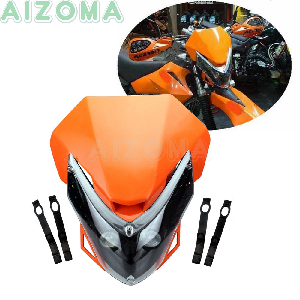 Enduro Sport Motorcycle LED Motocross Headlight Fairing W/ Turn Signal Lamp For KTM SMR SMC EXC SXF XCF XC SX CRF 125 250 450