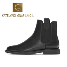 KATELVADI 2019 Boots Women Black PU Leather Shoes For Winter Woman Casual Spring Chelsea Ankle K-491