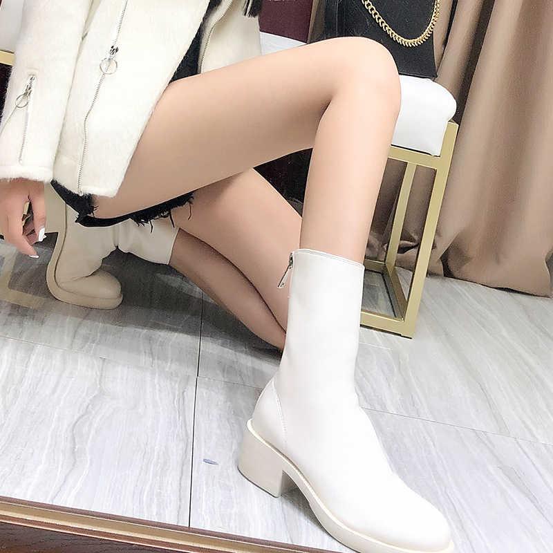Giày Bốt Nữ Giày Gợi Cảm Mắt Cá Chân Giày Mũi Tròn Gót Vuông Dây Kéo Thoải Mái Mềm Mại Giày Nữ Nền Tảng 2020 Hàng Mới Về