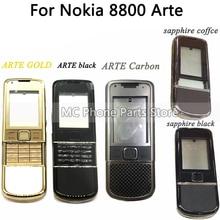 غلاف كامل لهاتف نوكيا 8800 Arte كربون 8800 ARTE ياقوت خلفي غطاء بطارية إطار وسط لوحة مع زر لوحة مفاتيح
