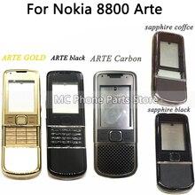 Tam konut Nokia 8800 Arte karbon 8800 ARTE safir arka pil kapağı orta çerçeve plaka klavye düğmesi