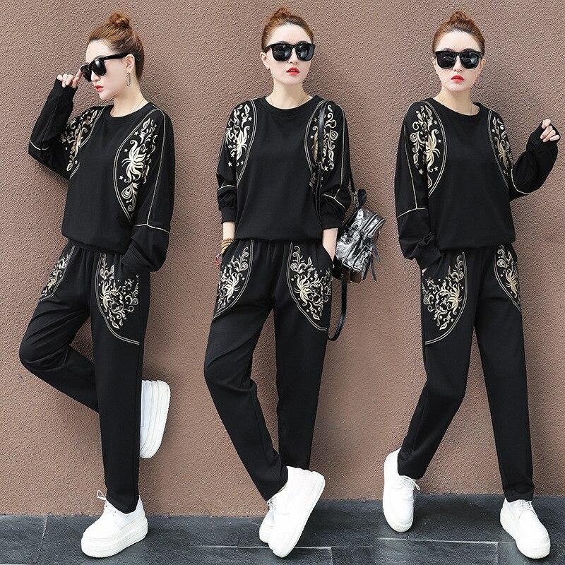 Max Lulu de la primavera de 2020 de las señoras de moda Casual conjuntos de dos piezas Floral de las mujeres, camisetas y pantalones de harén Vintage chándales con estampado de talla grande - 4