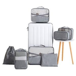 Image 3 - 男性旅行バッグセット防水パッキングキューブポータブル衣類オーガナイザー女性旅行バッグ手荷物アクセサリー製品
