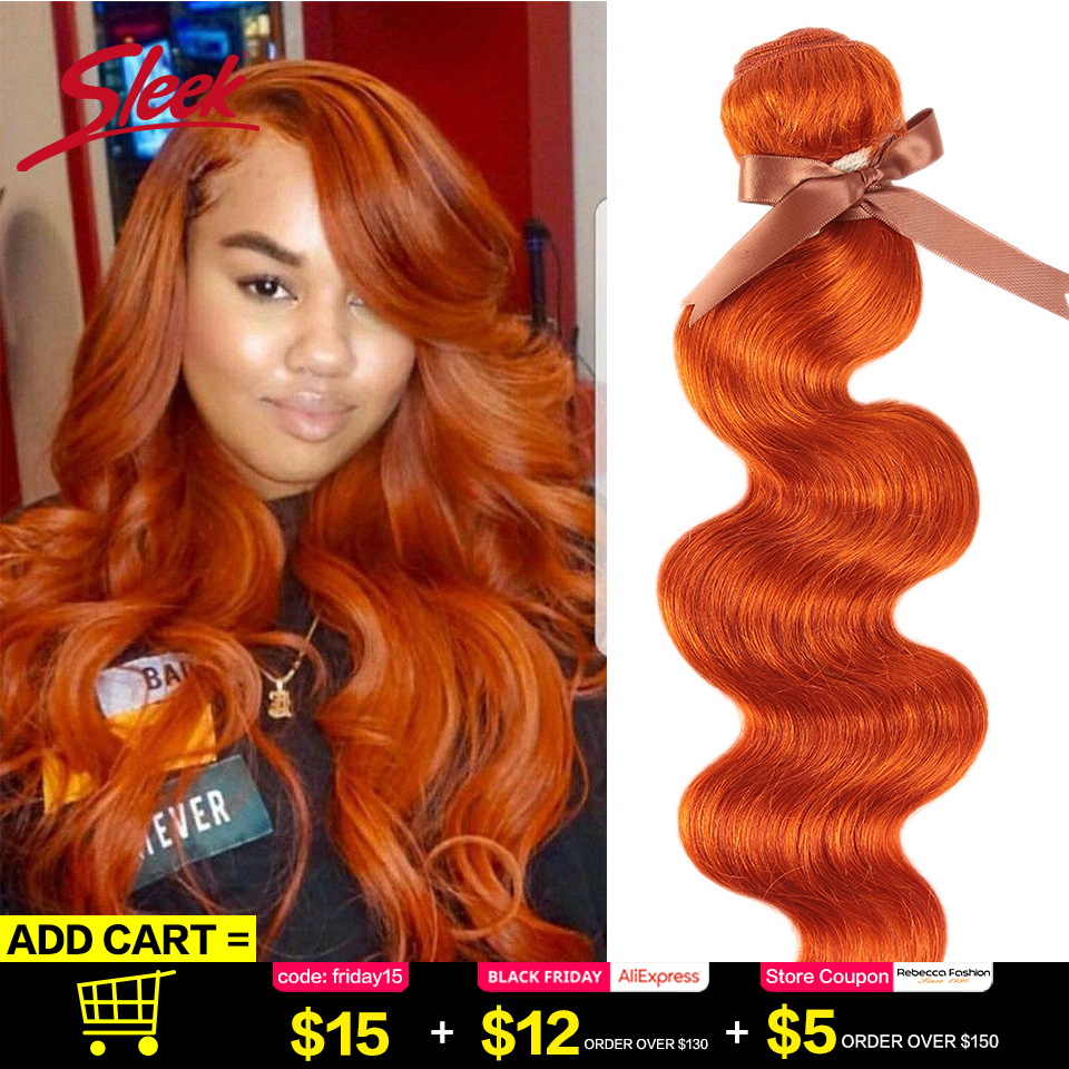 Sleek Mink Orange Blonde Color Brazilian Body Wave Hair Weave Bundles 8 To 28 Inches Hair Extension Bugha Style Free Shiping