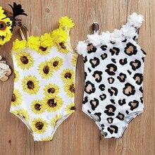 Kids Swimwear Sunflower Off-Shoulder Leopard-Print One-Piece Beach Children's Summer