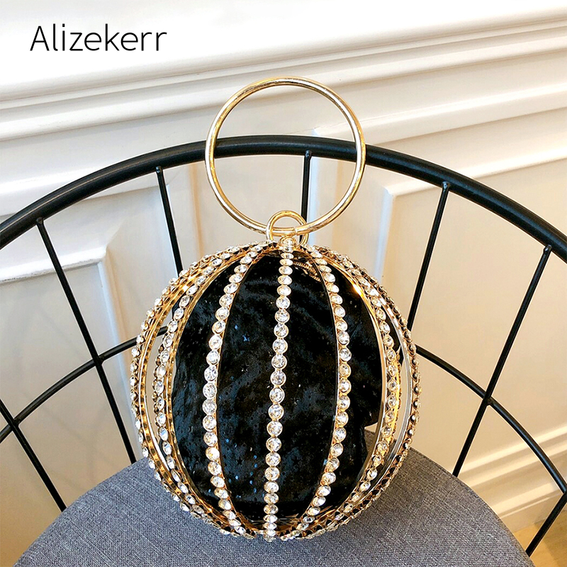 Rhinestone Spherical Cage Evening Clutch Bag Women Hollow Out Bling Alloy Dinner Purse And Handbag Ladies Round Metal Handle New