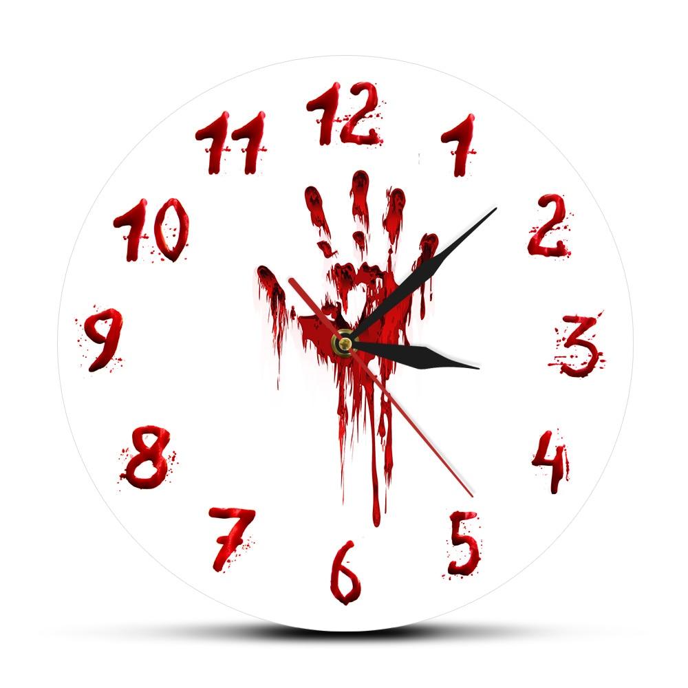 Halloween Horror Bloody Hand Printed Wall Clock Saat Reloj De Pared Watch Evil Dead Zombie Quartz Clock Art Free Shipping