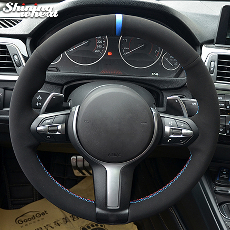 Black Suede Car Steering Wheel Cover for BMW F87 M2 F80 M3 F82 M4 M5 F12 F13 M6 F85 X5 M F86 X6 M F33 F30 M Sport|Steering Covers| |  - title=