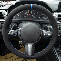Black Suede Car Steering Wheel Cover for BMW F87 M2 F80 M3 F82 M4 M5 F12 F13 M6 F85 X5 M F86 X6 M F33 F30 M Sport