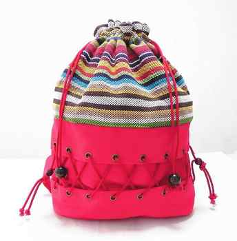 Original  ethnic canvas sack pack lady cotton printed colorful backpack teenage straw string  follow out  strip bag - DISCOUNT ITEM  10% OFF All Category