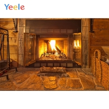 Yeele Christmas Background Photophone Fireplace Fire Wood House Tree Indoor Photography Backdrop Photo Studio Vinyl Photocall
