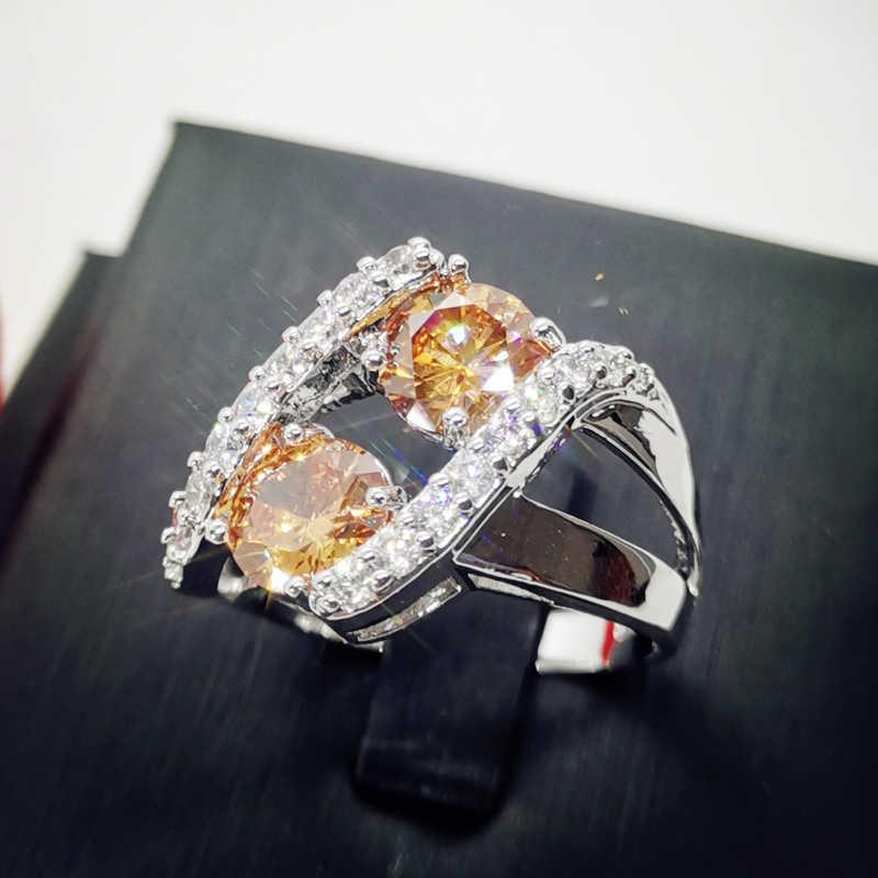 Lingmei แฟชั่นขายส่งปาร์ตี้ตัดลึกลับเครื่องประดับสายรุ้ง & White CZ เงินสีแหวนขนาด 6 7 8 9 10 11 12 13 ของขวัญ