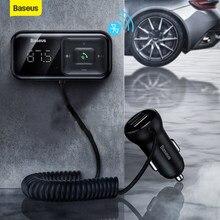 Baseus 3.1A de carga rápida USB cargador de coche transmisor FM inalámbrico Bluetooth Kit de manos libres para coche de Audio Aux MP3 jugador cargador rápido