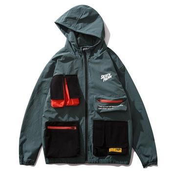 2019 Autumn Hip Hop Jacket Windbreaker Men Japan Harajuku Multi Pockets Jacket Coat Retro Vintage Casual Track Jacket Streetwear