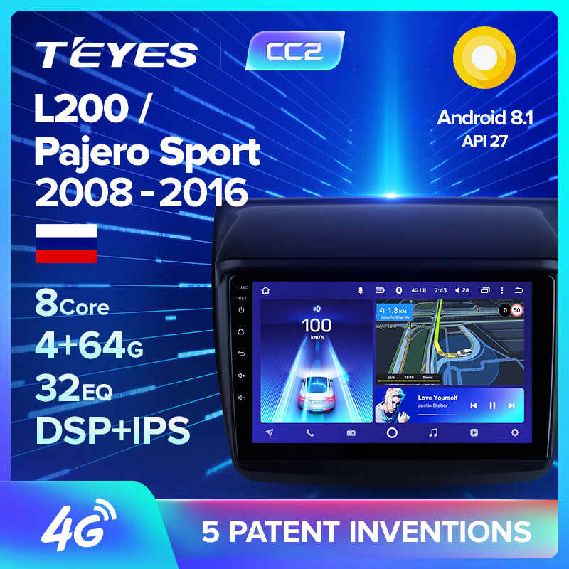 TEYES CC2 For Mitsubishi Pajero Sport 2 L200 2008 Car Radio Multimedia Video Player Navigation GPS Android 8.1 No 2din 2 din dvd