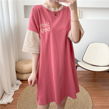 Maternity-Clothes Stitching-Sleeves Straight-Dress Pregnant-Women Feeding Summer Wear