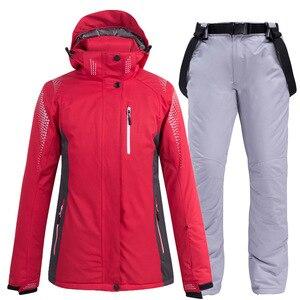 Image 4 - Новинка 2020, теплый зимний лыжный костюм для мужчин и женщин, ветрозащитный водонепроницаемый костюм для катания на лыжах и сноуборде, куртка и брюки, мужской костюм для снега