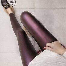 2021 Spring PU Faux Leather Leggings Women Autumn Skinny Pants 4 Colors Slim Korean Ladies Fleece Pencil Leggins Female S-3XL