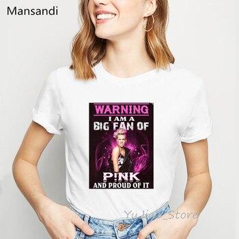 Różowy piękny uraz World Tour 2019 t koszula kobiety fajne punk koszula lato biały kobiet koszulka 90s streetwear hip hop t shirt