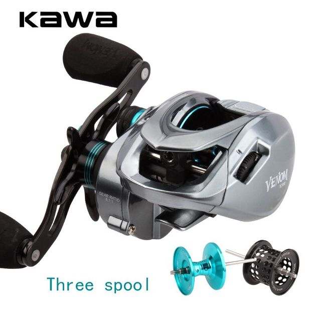 Kawa Fishing Reel New Model Three Aluminum Spools Magnetic Brake Cork Knob Bearing 11+1 Max Drag 8KG Weight 219.5g