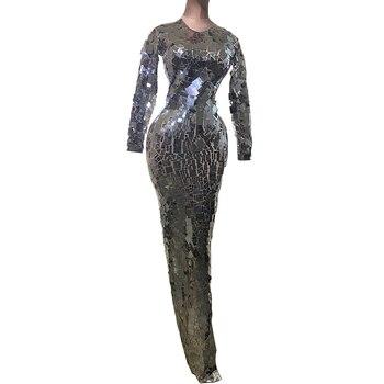 Luxury Sequin Design Bright Full Mirrors Long Dress Women Evening Birthday Dresses Singer Costume Prom Celebrate Bling