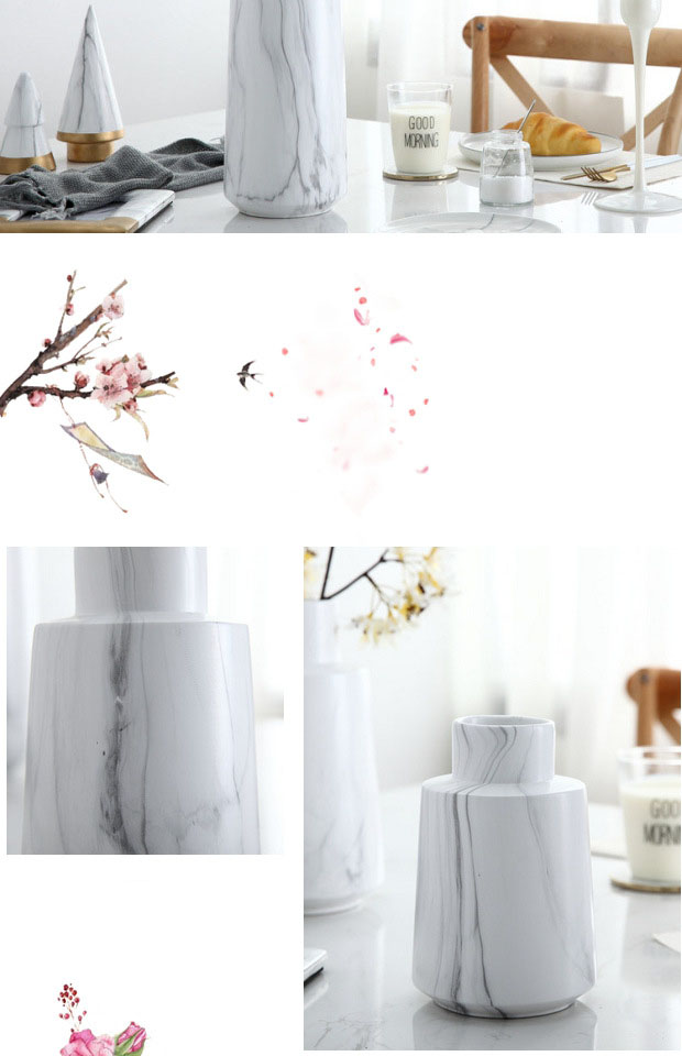 Nordic White Marble Pattern Simulation Dry Vase Ceramic Flower Inserter Modern Minimalist Decoration Table Decoration