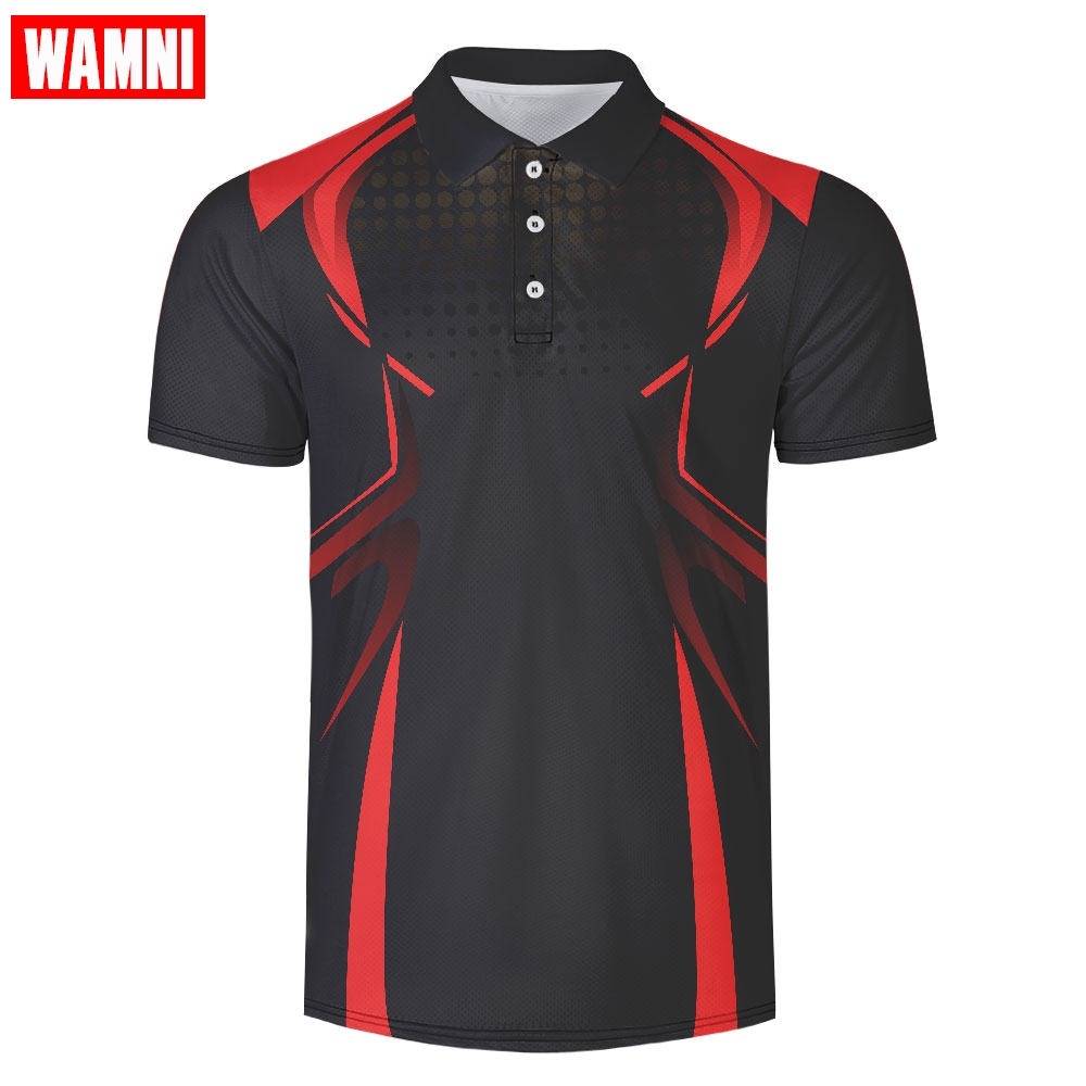 WAMNI Brand Business 3D Polo Shirt Casual Turn-down Collar Tennis Shirt Male Harajuku Sport High Quality Button Polo Tracksuit