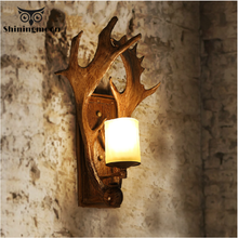 American Retro Wall Lamps Loft Stairs Corridor Sconce Light Fixture House Outdoor Wood Antlers Balcony Lighting