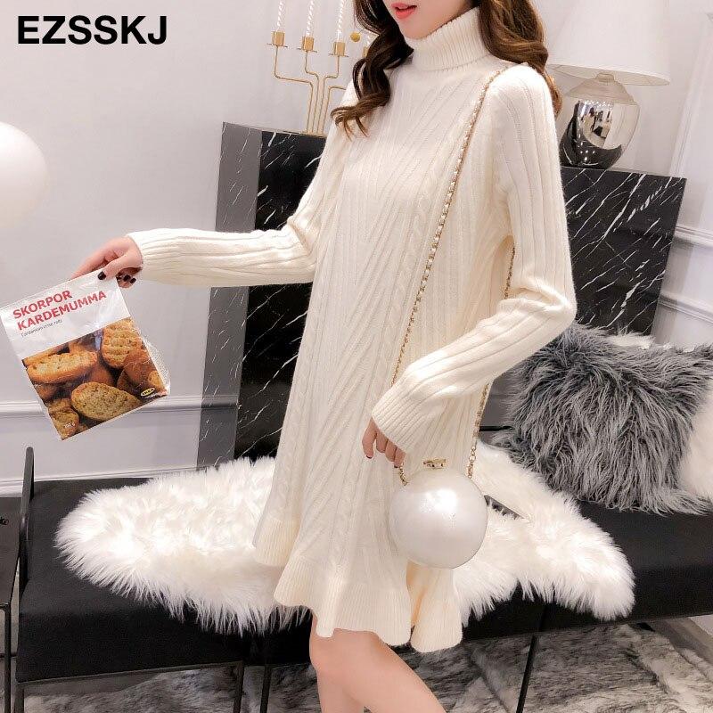 2019 Autumn winter Thick Turtleneck Fishtail sweater dress women basic warm midi sweater dress female 69